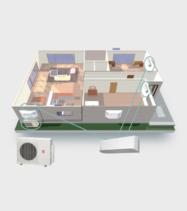 Full house diagram picture of how mini-split HVAC systems work - Rheem mini-split systems