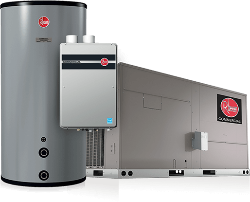 Product image of Rheem's flagship commercial heating, cooling, and water heating products.