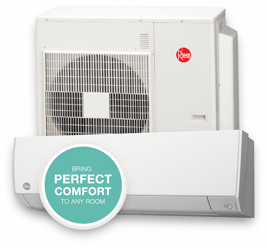 Picture of Rheem mini-split HVAC heating and cooling system.