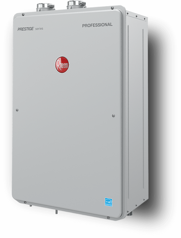 Rheem Tankless Water Heater Product Photo - Angled