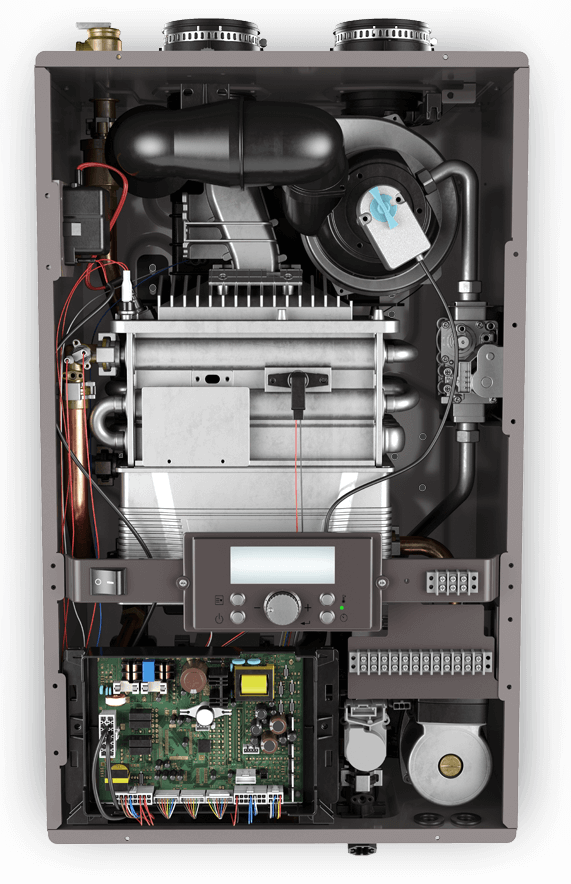 Internal product view of the Rheem combination boiler.