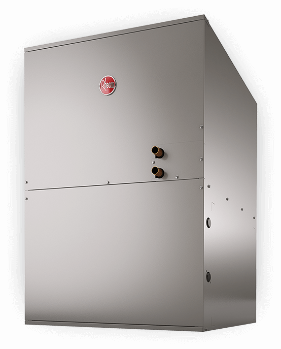 Angled product picture of the Rheem hydronic air handler which is compatible with Rheem's combination boilers.