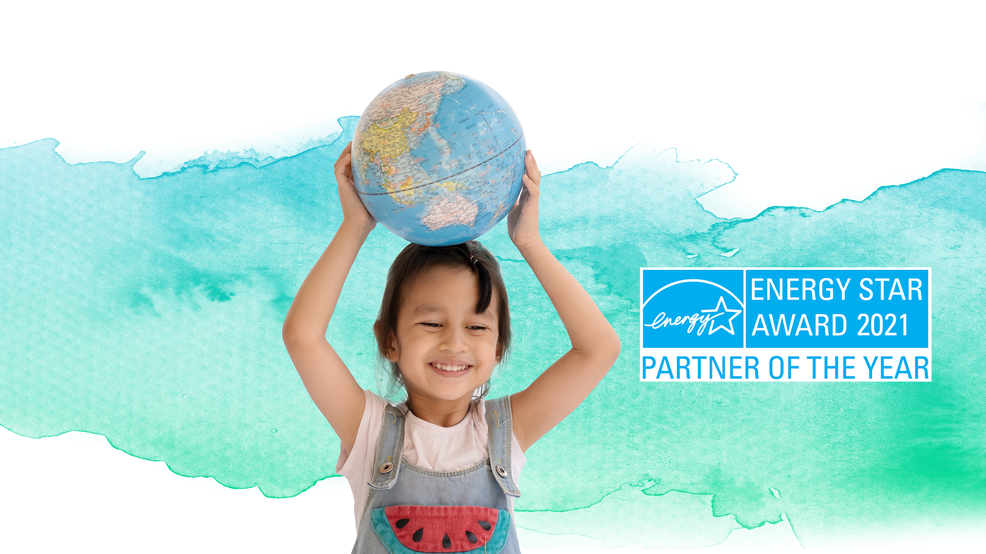 Earth day image with girl holding globe