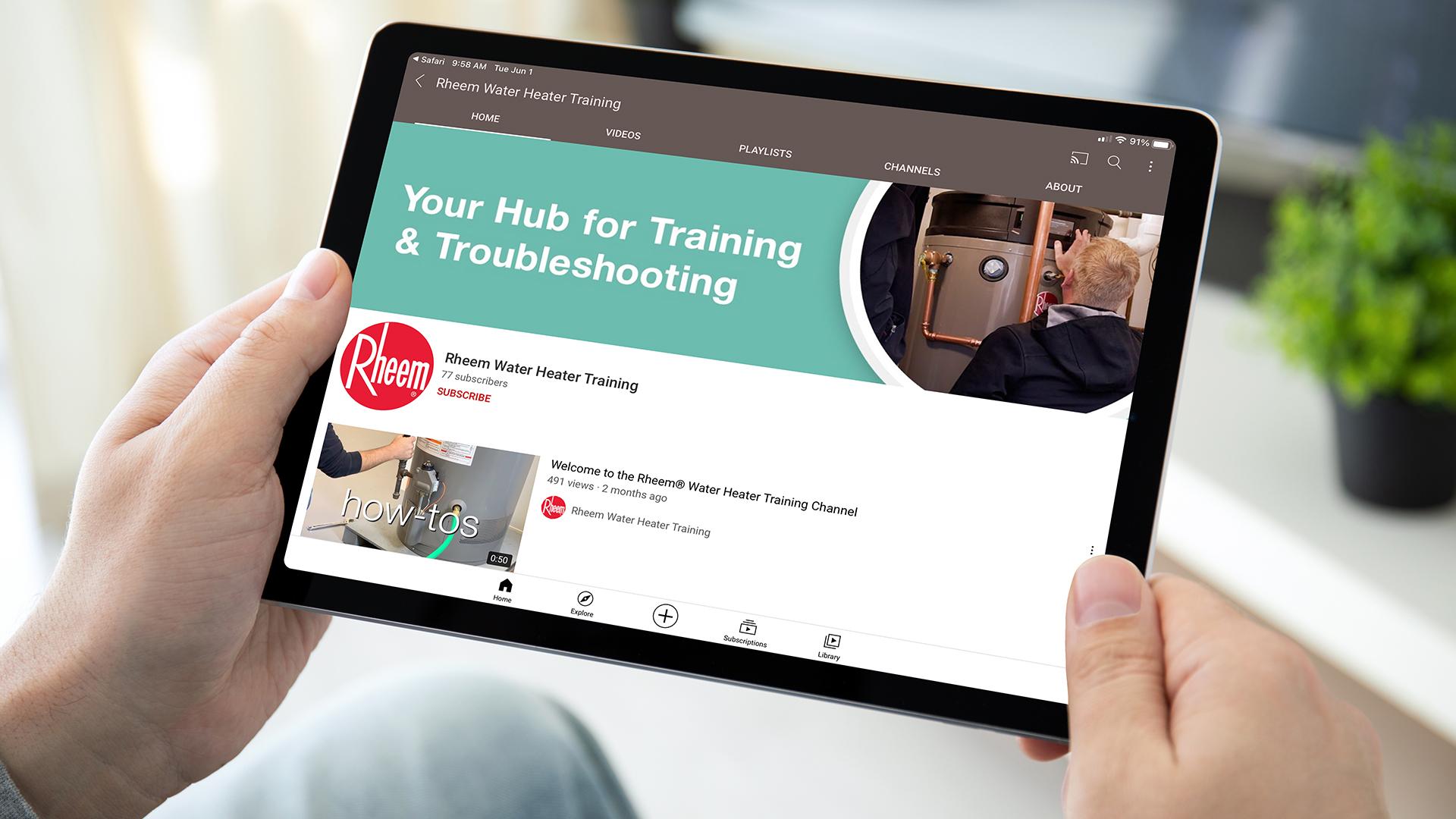 Rheem Water Heater Training YouTube channel
