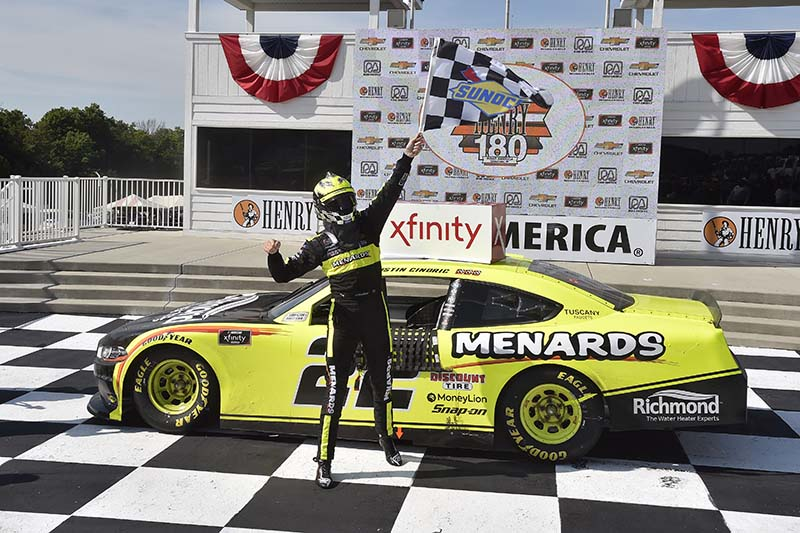 Photo of Austin Cindric celebrating his August 8th, 2020, NASCAR win.