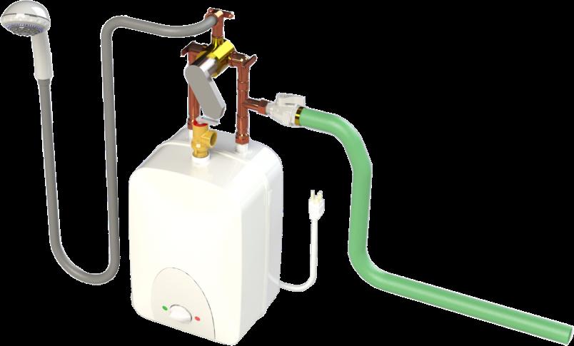 Minitank temporary shower solution